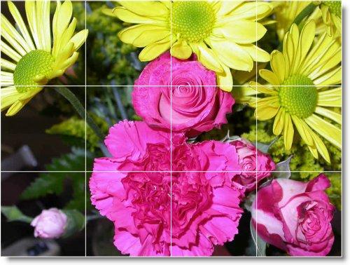 FLORES FOTO MURAL DE AZULEJOS F233  18X 24CM CON (12) 6X 6AZULEJOS DE CERAMICA