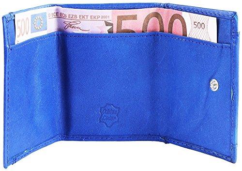 Excellanc Querformat Mini Geldbörse Blau aus Rindleder 9 x 6cm 495025030112 mit 1 Kleingeldfach