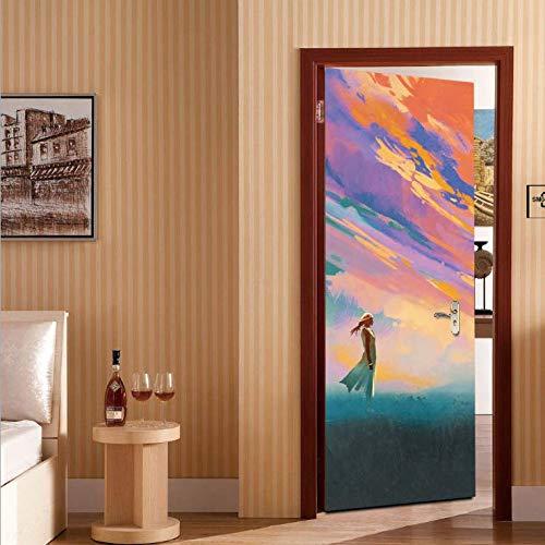 entine Mädchen Tür Aufkleber Persönlichkeit Holztür Dekoration Dekoration Tür Aufkleber können gelöscht Werden ()