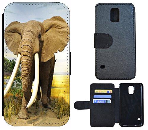 Coque Flip Cover Housse Etui Case Pour, Tissu, 1131 Schmetterling Schwarz Türkis Weiß, Apple iPhone 5 / 5S 1132 Elefant Afrika Braun Grün