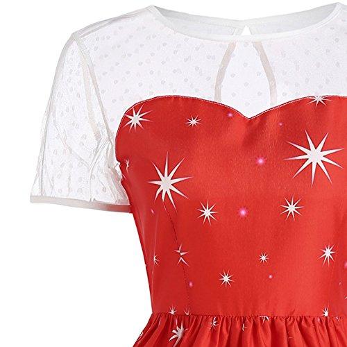 iBaste Natale Vestiti Donna Stampare Sexy Lace Cocktail Vestito per Matrimoni e Banchetto Dance Party Alci rosso