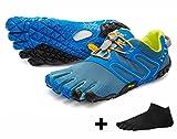 Vibram FiveFingers V-Trail Men - SET - Trail- Running- Zehenschuh mit GRATIS Zehensocke (Tapestry/Blue, 46)