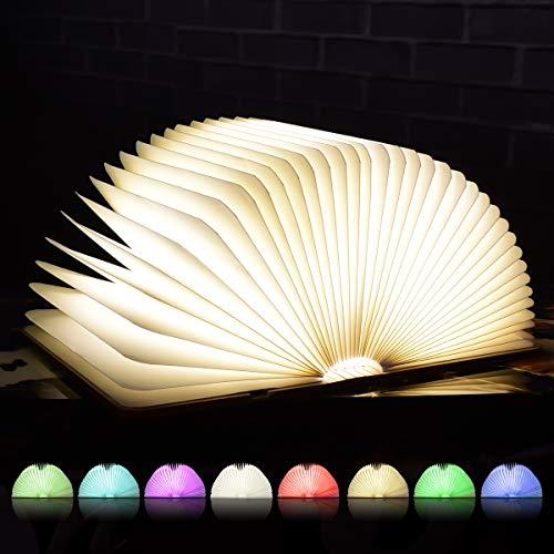 SKEY Große LED Buch lampe, 8 Farbmodi Buchlampe, Hölzerne faltende Buch-Lampe, USB wiederaufladbar Tischleuchte, Nachttischlampe, dekorative Lampen, 360°Faltbar -