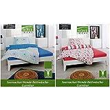 Home Ideas Seersucker-Wende-Bettwäsche-Garnitur 135 x 200 cm und 155 x 220 cm - blau oder rot, Modell:blau - 135x200
