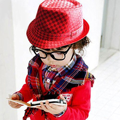Moppi Flat Top Fedora Jungen Canvas Cap Kids Blues Jazz Tanz Hut -