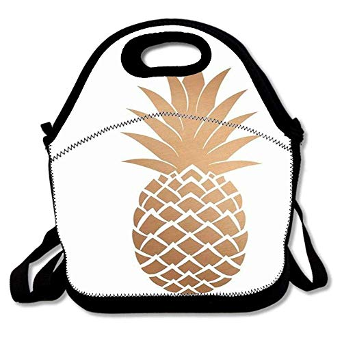 ziHeadwear Insulated Lunch Bag Tote Reusable Waterproof School Picnic Carrying Gourmet Lunchbox Container Organizer for Women, Men, Adults, Kids, Girls and Boys - Rose Gold Pineapple Pattern - Tiffin Rose