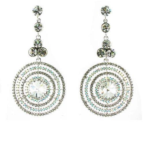 Placcato in argento con cristalli chiari Striking rotonda strass Orecchini - Orecchini Strass Clip Ons