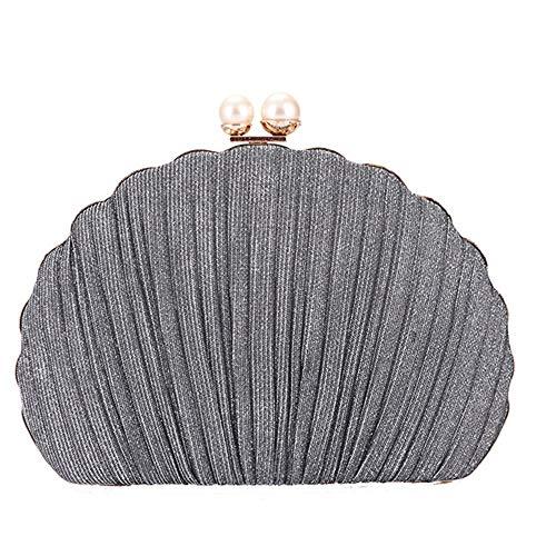 LLJ Damen Handtasche Komfort Stoff Kette Tasche Schulter Abend Bankett Tasche Lady Party Bag Clutch Bag Exquisit (Farbe : Gray) -