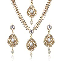 Sparkling Tear Drop With Kundan Leaves Faux Pearl Indian Ethnic Necklace Set d7w