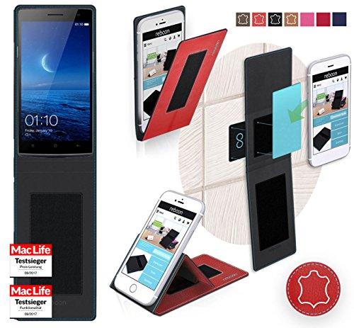 reboon Hülle für Oppo Find 7 Tasche Cover Case Bumper   Rot Leder   Testsieger