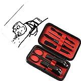 Coupe-ongles 7 pcs Manicure Pedicure Set Humour Kit de toilettage des ongles en acier inoxydable,Bizarre Guy Meme Visage Barfing Scène De Nourriture Troll Web Comics Illustration, Orange Abricot et Te