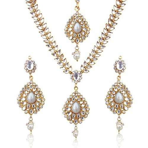 Dancing Girl Sparkling Tear Drop With Kundan Leaves Faux Pearl Indian Ethnic Necklace Set d7w