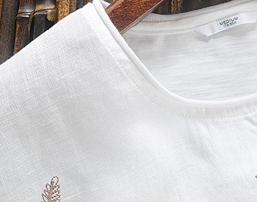 Insun Herren Leinen T-Shirts Rundhals Loose Fit Hemden Beach Shirts Männer Lässig Kurzarm Feder