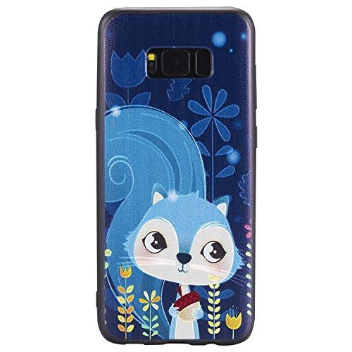 Samsung Galaxy Hülle, Hozor Dünne Weiche TPU Silikon Handyhülle Schutztasche Back Cover Gemalt Geprägt Muster Schutzhülle Etui für Samsung Galaxy S8 Plus S8+ 6.2 zoll - Blaue Eichhörnchen (Plus Eichhörnchen)