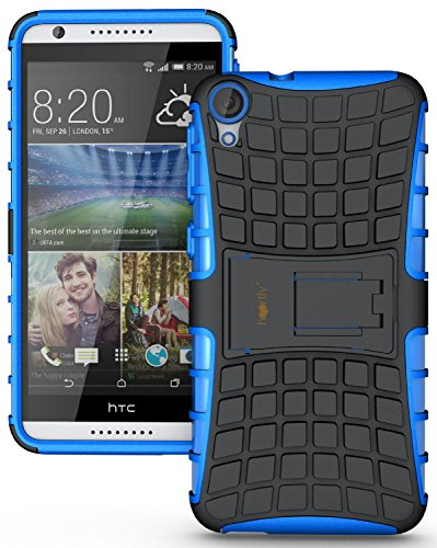 Heartly Flip Kick Stand Spider Hard Dual Rugged Armor Hybrid Bumper Back Case Cover For HTC Desire 820 820Q Dual Sim - Power Blue