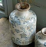 Bluebell Yard Tall Stoke - Jarrón de cerámica, diseño rústico, Color Azul y Blanco