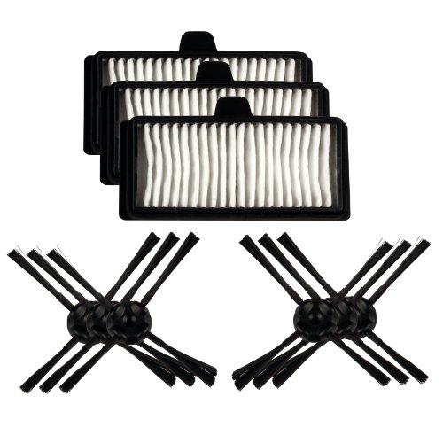 Menalux MRK03 3 Filtres Hygiène Lavables + 6 Brosses Latérales pour Aspirateur Adaptable pour LG