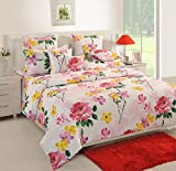 Swayam 120 TC Cotton Double Bed Sheet with 2 Pillow Covers - Floral, Multicolour