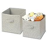 mDesign lot de 2 corbeilles de rangement en tissu – box organiseur de chambre d'enfant – unité de stockage pratique pour couvertures, vêtements ou jouets dans l'armoire – taupe/nature