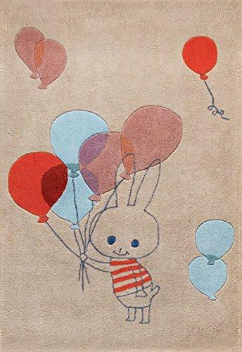 Art For Kids 110x 160cm), diseño 'Conejo por shinzy Katoh' acrílico alta calidad niños alfombra, Beige