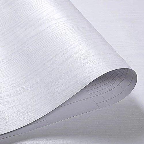 prezzo KINLO 0.61M*5M(1 rotolo) Adesiva per Mobili Finto legno grano Bianco PVC Impermeabile Antibatterico e Anti-umidità Wall Sticker autoadesive rinnovato mobili/parete/vetro/marmo ecc.