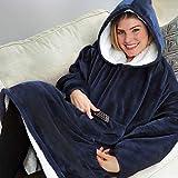 Seogva Oversized Sherpa Hoodie, Wearable Hoodie Sweatshirt Blanket, Super Soft Warm Comfortable Blanket Hoodie, One Size Fits All, Men, Women, Girls, Boys, Friends