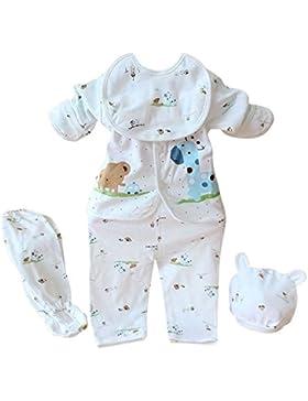 Brightup 5 Stücke Neugeborenes Baby Baumwollhemd + Hosen + Hat + Bid Anzug