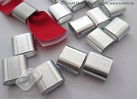 Alu Hülsen / Plomben für gewebte / bedruckte Stoff – Einlassbänder/Eintrittsbänder - 10