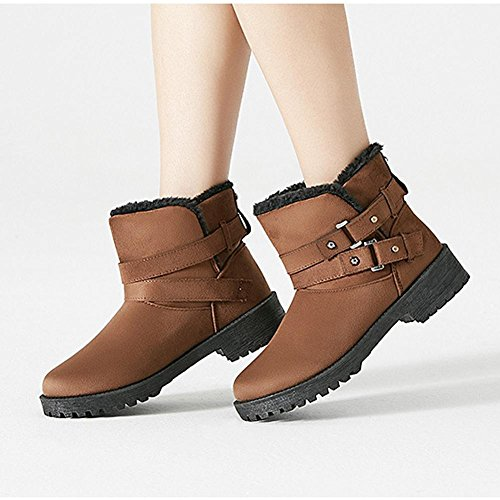 Femmina breve stivali cotone tacco basso piatto caldo casual spessa peluche inverno caviglia scarpe, GRAY-40 BROWN-37