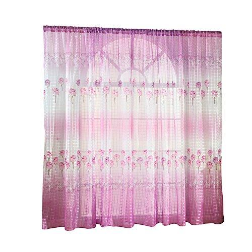 shyyymaoyi Vorhang mit Rosen-Blumenmuster, durchsichtig, für Wohnzimmer, Schlafzimmer, Büro, Fensterteiler Rose