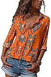 Avanon Langarmshirts Damen Herbst Bluse Blumenmuster Shirts Mit Knöpfe V-Ausschnitt Langarm Hemd Shirt Tank Tops (Orange, L)