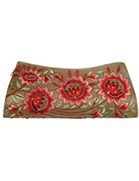 Soulful Threads Cotton Silk Bold Multi Colour Floral Embroidered Beige Clutch