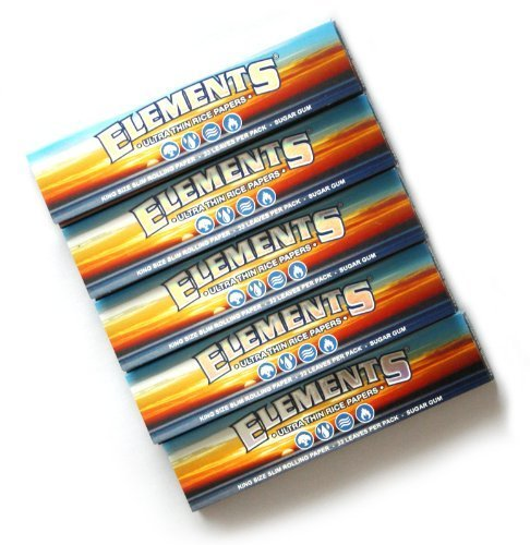5 booklets ELEMENTS Slim King Size ULTRA THIN RICE rolling paper (Rolling Paper Elements)