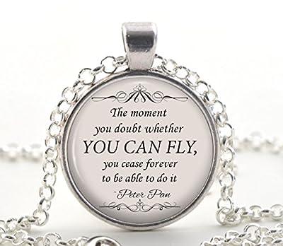 """Collier Peter Pan, Argent """"Vous pouvez voler"""" Citation Pendentif, idées inspirées du cadeau bijoux de livre pour les femmes"""