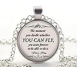 Peter Pan Halskette, Silber 'Sie können fliegen' Zitat Anhänger, Inspirierend Buch Schmuck Geschenkideen für Frauen