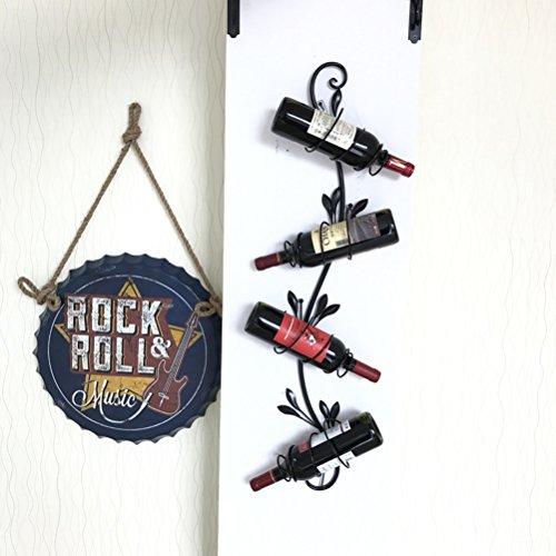 Wine Rack - Einfaches Zuhause Wohnzimmer Weinregal Decor Wall Mounted Wein Handtuchhalter, 4 Flaschen, Schwarz, Bronze 95x20cm Felice Home (Farbe : SCHWARZ) -