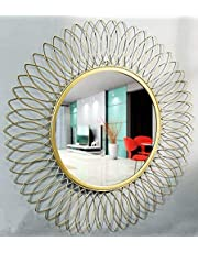 Furnish Craft Beautiful Modern Designed Sunflower Iron Decorative Wall Mirror for Living Room (21 x 21 inch)