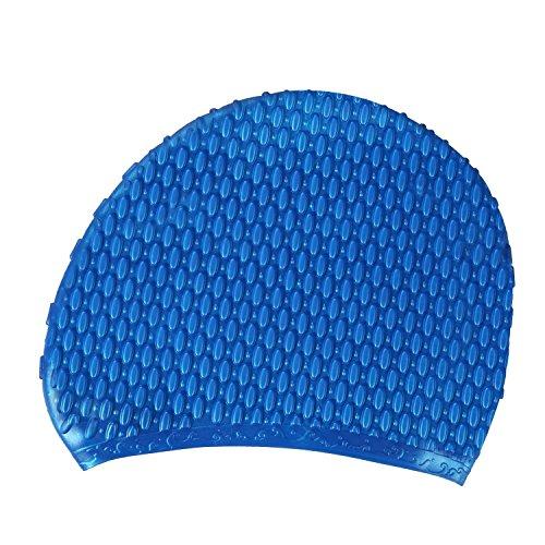 Ejia Tech Silikon Badekappe, für Lange Haare, Wassertropfen- Serie, groß, wasserdicht, Schwimmen, Kappe für Damen und Herren, Kinder, blau