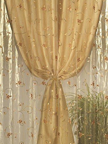 home collection tds117 tenda doppia shantung, poliestere, oro, 140x290 cm