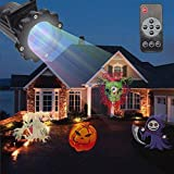 E-CHENG Christmas Projector Light, Christmas Decoration Projector LED Light 16 Switchable Patterns IR Remote Control Waterproof Outdoor Indoor Spotlight (Black.)