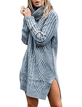 [Patrocinado]Prendas de Punto,ZARLLE Mujer Otoño E Invierno Jersey Long Pullover Suéter Punto Texturizado con Cuello Alto Elegante...