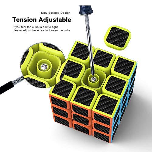 Versi/ón Mejorada Negro 3x3x3 Fibra de Carbono Suave Magia Cubo de M/ágico Rompecabezas 3D Cube cfmour Cubo de M/ágico 5.7cm