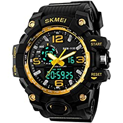 Jelercy Dual Dial Analog Digital Quartz Electronic LED Display 5ATM 50M Waterproof Running Oversized Face Sports Watches for Men,Gold