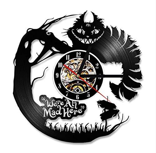 (Pmhhc Cartoon Alice In Wonderland 3D Vinyl Record Clock Creative Cd Record Clock Antique Led Hollow Hanging Clock Classic Home Decor)