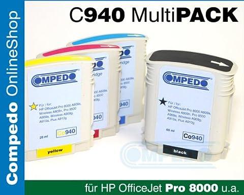 Compedo Premium XL-Multipack 4er CMYK pigment (1 x 72 ml + 3 x 30 ml) mit Chip und Füllstandsanzeige ersetzt HP Nr. 940XL (C2N93AE) für HP Officejet Pro 8000 A809a, 8000 Enterprise A811a, 8000 Wireless A809n, 8500 A909a, 8500A A910a, 8500 Plus A910g, 8500A Wireless A909g u. a.