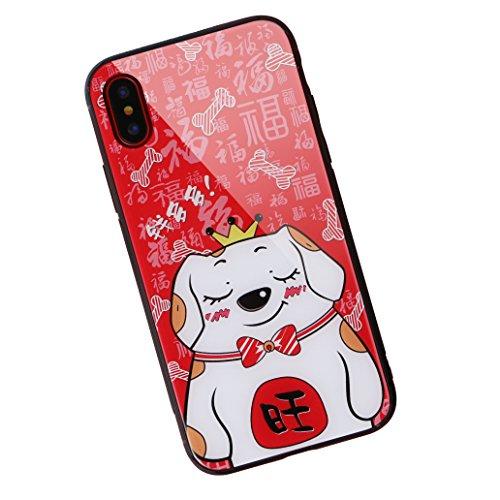 aichose iPhone X Fall, Luxus Fortune Cat für Ihr Handy Neue Jahr, Tempered Glas Back Cover mit Soft TPU Bumper Rahmen Stoßdämpfung bietet Starken Schutz, iPhone X, FortuneCat C -