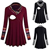 TITAP Autumn Winter Maternity Tops and Blouses Long Sleeve Pregnant Shirts Pregnancy Tees Casual Loose Maternity Clothes O-Neck