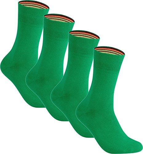 gigando   colorful Baumwoll-Socken   kräftige Farben für Damen und Herren   Hand gekettelt   extra feines Maschenbild   trendige unifarbene Strümpfe   4 Paar   grün   39-42  