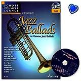 Jazz Ballads - 16 berühmte Balladen für Trompete aus Reihe Schott Trumpet Lounge - Notenbuch mit CD und bunter herzförmiger Notenklammer - ED21320-9783795746827