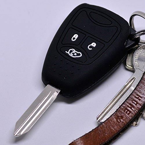 Soft Case Schutz Hülle Auto Schlüssel 3 Tasten Chrysler 300C Voyager Sebring Dodge RAM Nitro Jeep Liberty Commander Grand Cherokee / Farbe Schwarz